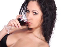 Beautiful woman with wineglass Royalty Free Stock Images