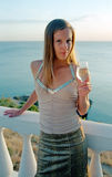 Beautiful woman with wineglass of champagne Stock Photography