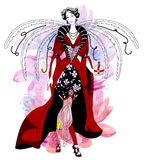 Beautiful woman with wings. Luxury fashion Royalty Free Stock Photos
