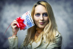 Beautiful woman winner holding 50 euro Royalty Free Stock Photography