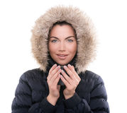 Beautiful woman with winter anorak and mug of hot tea Stock Photography