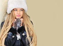 Beautiful woman in winter - closeup Royalty Free Stock Photo
