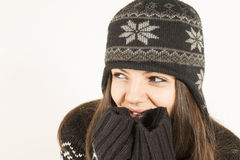 Beautiful woman in winter clothes smiling Royalty Free Stock Photo