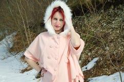 Beautiful woman in winter coat Stock Photography