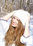 Beautiful woman on a winter day Royalty Free Stock Photo