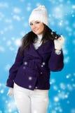 Beautiful woman in winter fashion. Snowflake. Royalty Free Stock Photos