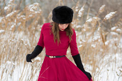 Beautiful woman in winter field Stock Image