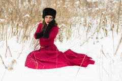 Beautiful woman in winter field Royalty Free Stock Images
