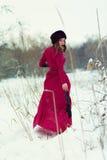 Beautiful woman in winter field Stock Image