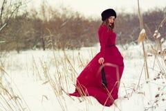 Beautiful woman in winter field Stock Photos