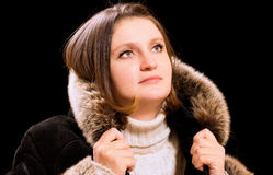 Beautiful woman in winter fur coat Royalty Free Stock Image