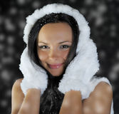 Beautiful woman in a winter hat Stock Photos