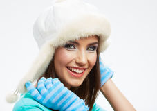 Beautiful woman winter hat. Close up portrait. Isolated white Royalty Free Stock Photo