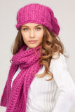 Beautiful woman in winter hat Stock Photos