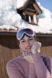 Beautiful woman in winter landscape Stock Photo