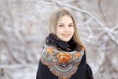 Beautiful  woman  at winter nature Stock Photo