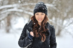 Beautiful woman in winter outdoor portrait Stock Image