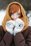 Beautiful woman in winter. Outdoors portrait of young beautiful woman in winter park Royalty Free Stock Photo