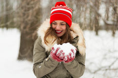 Beautiful woman in the winter park Royalty Free Stock Images