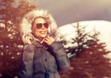 Beautiful woman in winter park Royalty Free Stock Photos
