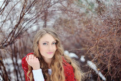 Beautiful woman in winter in a park in red kerchief Royalty Free Stock Photo