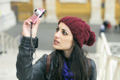 Beautiful woman in winter, photographing stock photography