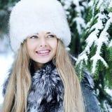 Beautiful woman winter portrait close up stock photo