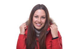Beautiful woman in winter red jacket Stock Photo