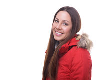Beautiful woman in winter red jacket Royalty Free Stock Photo
