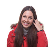 Beautiful woman in winter red jacket Royalty Free Stock Photos