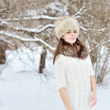 Beautiful woman in the winter scenery Royalty Free Stock Image