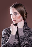 Beautiful woman in a winter sweater Royalty Free Stock Image