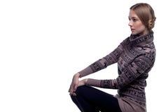 Beautiful woman in a winter sweater Stock Photo