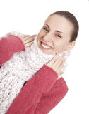 Beautiful woman in winter sweater and scarf Royalty Free Stock Photography