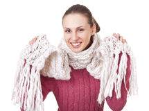 Beautiful woman in winter sweater and scarf Stock Photo