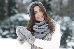 Beautiful woman in winter time Royalty Free Stock Photos