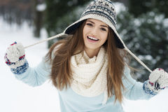 Beautiful woman in winter time Stock Images