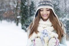 Beautiful woman in winter time Stock Photo