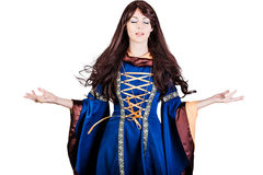 Beautiful woman witch infantasy medieval dress and long hair Royalty Free Stock Images