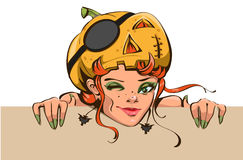 Beautiful woman witch with pumpkin lantern on his head. Halloween masquerade Stock Image