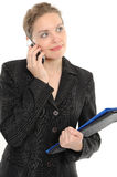 Beautiful Woman With A Folder, Phone Royalty Free Stock Images