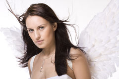 Beautiful Woman With Angel Wings Stock Photo