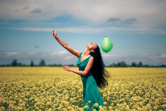 Beautiful Woman With Balloon Royalty Free Stock Photography