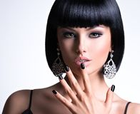 Free Beautiful Woman With Black Nails And Fashion Makeup Of Eyes Royalty Free Stock Photography - 166497997