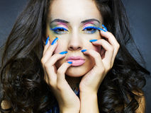 Beautiful Woman With Bright Makeup And Manicure Royalty Free Stock Photography