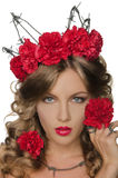 Beautiful Woman With Carnations Stock Photos
