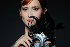 Beautiful Woman With Carnival Mask Royalty Free Stock Photos