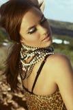 Beautiful Woman With Cat Eye Fashion Make-up Stock Photography