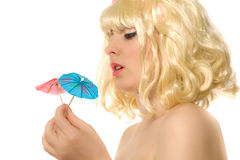 Beautiful Woman With Cocktail Umbrellas Stock Image