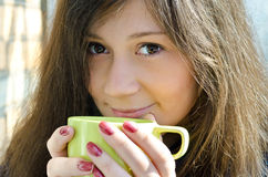 Beautiful Woman With Cup Of Coffee Stock Images